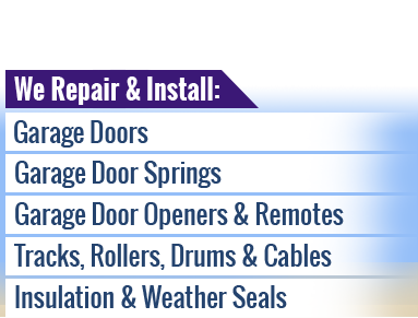We will repair and install all manner of garage doors